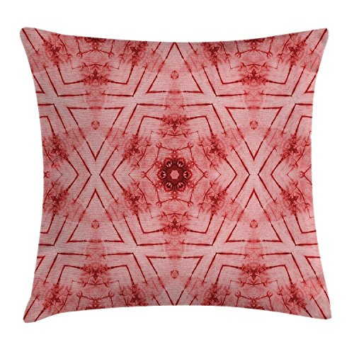Price comparison product image best bags Tie Dye Decor Throw Pillow Cushion Cover,  Symmetric Lined Tied Hazy Geometric Triangle Figures Little Flower Ikat Pattern,  Decorative Square Accent Pillow Case,  18X18 Inches,  Red