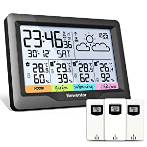 Newentor Weather Station Wireless Indoor Outdoor Multiple Sensors, Digital Atomic Clock Weather Thermometer, Temperature Humidity Monitor Forecast Weather Stations with Backlight