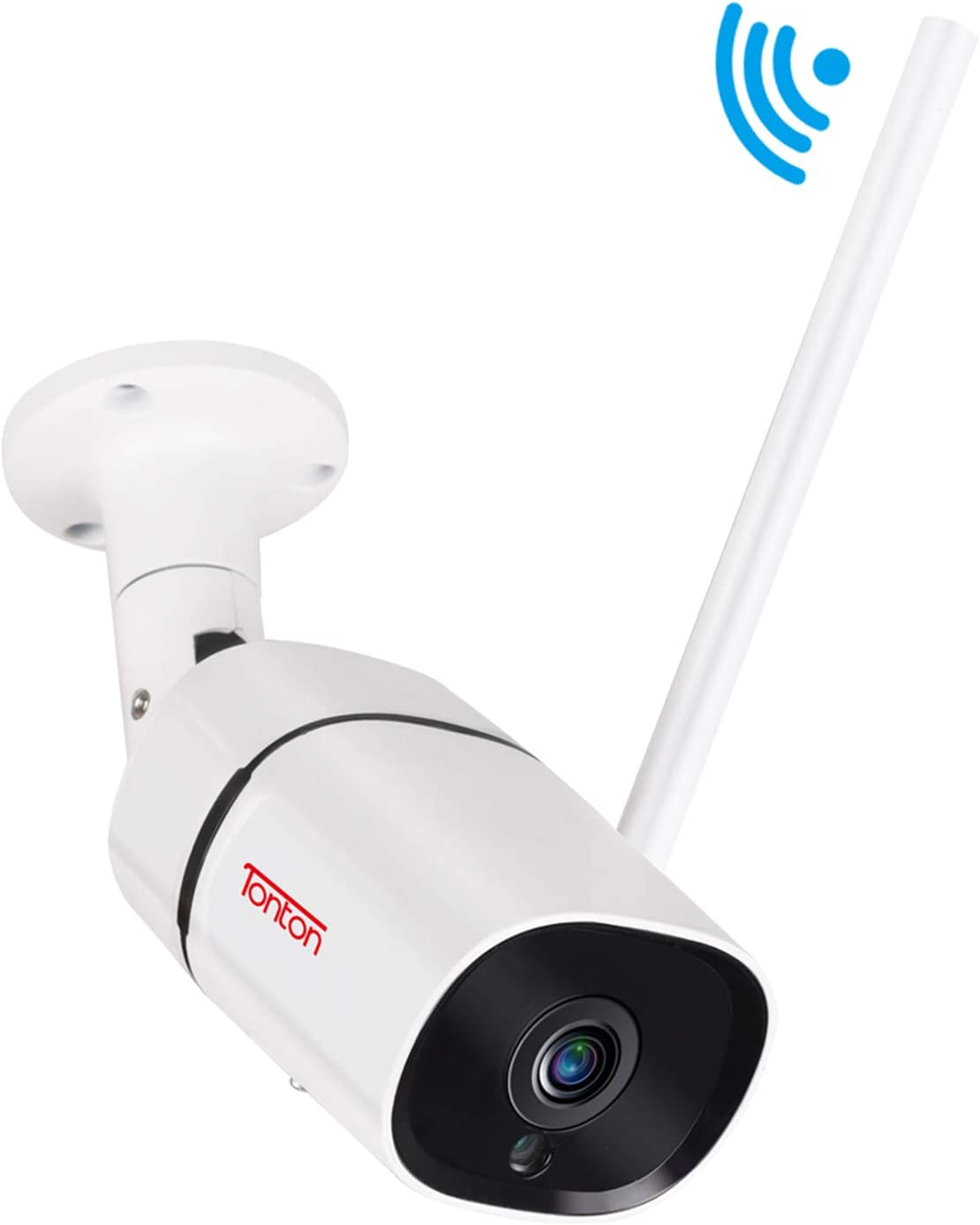 [2019 Newest] Tonton 1080P FHD WiFi IP Security Bullet Camera Outdoor, 2-Way Audio, Smart Motion Detection, Full Color Night Vision and Metal Shell, Support Max 128GB Micro SD Card