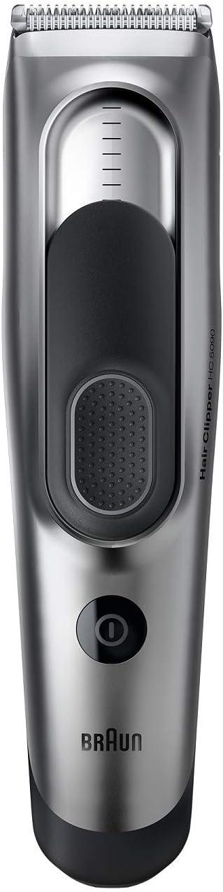 Braun HC5090 - Máquina de Cortar Pelo Profesional, Cortapelos con 17 Ajustes de Longitud y Soporte de Carga, Plata/Negro