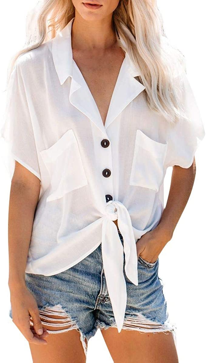 Camisa de Manga Corta para Mujer ALISIAM, Elegante, Larga, de Manga Corta, con Cuello en V Blanco XL: Amazon.es: Ropa y accesorios