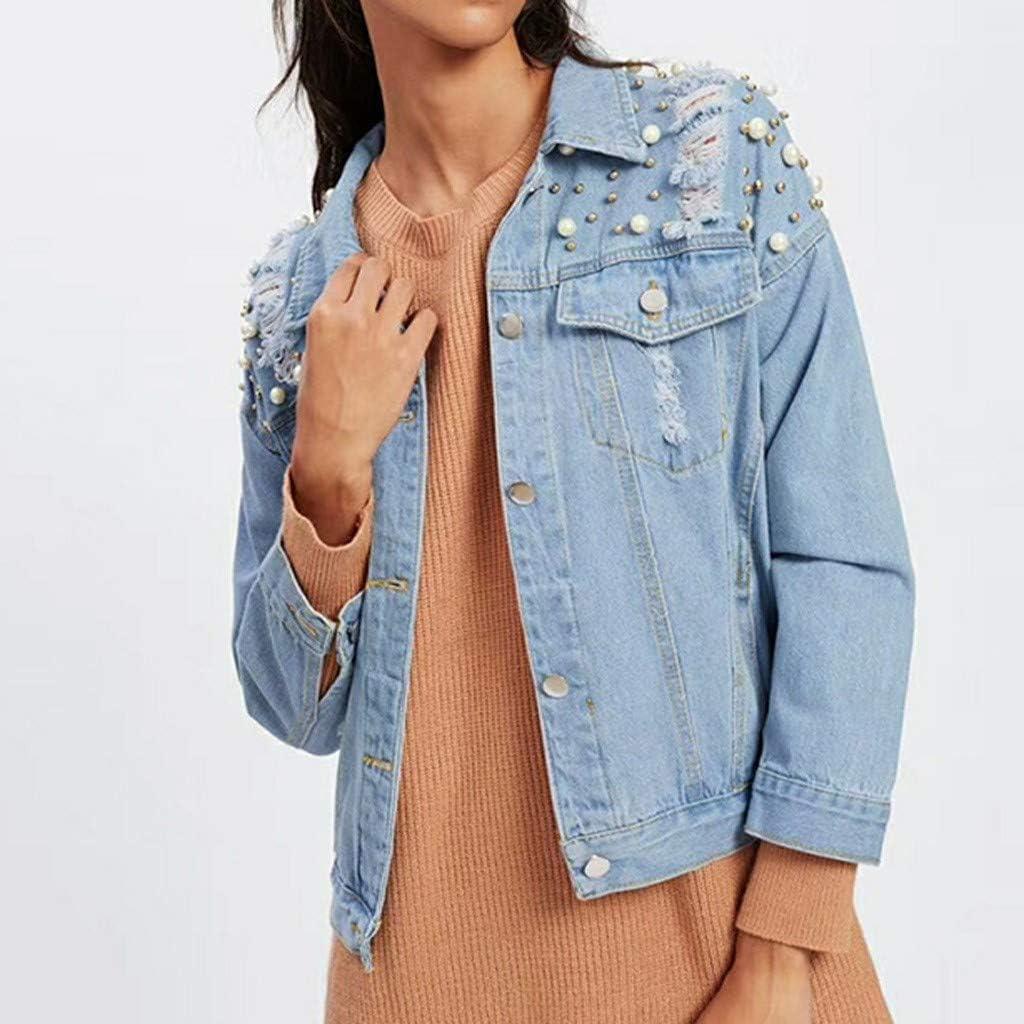 LaoZanA Jeans Giacca Donna Giubbotto Corto Slim Fit 3//4 Maniche Denim Cappotto