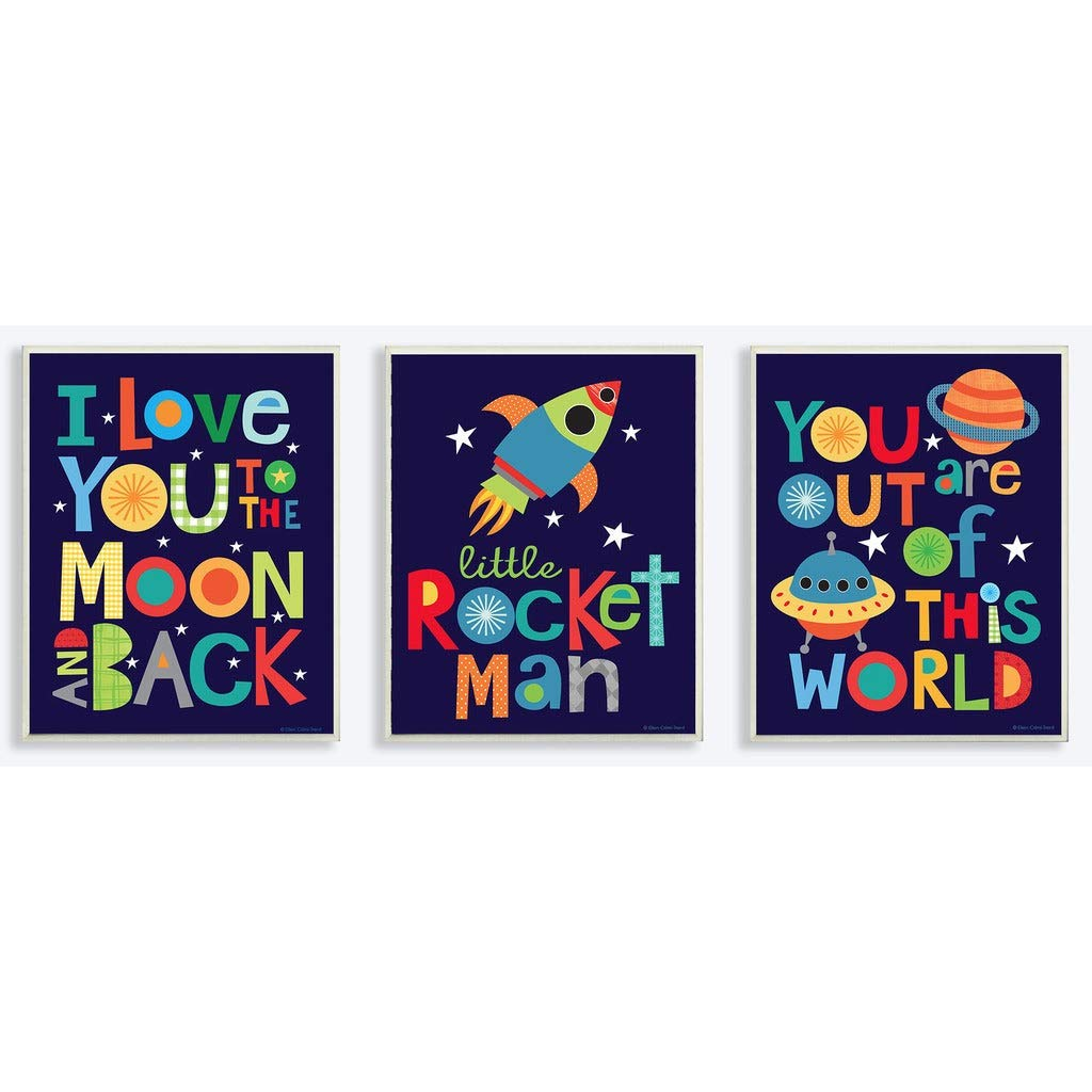 The Kids Room by Stupell I Love You to The Moon and Back Textual Art 3 Piece Wall Plaque Set, 11 x 0.5 x 15, Proudly Made in USA by The Kids Room by Stupell