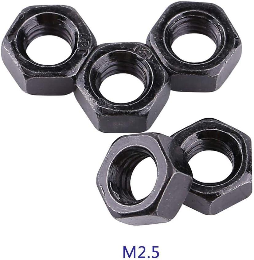 100 Teile//satz M2-M5 Metrisches Gewinde Hex Sechskantmuttern Schwarz Verzinktem Kohlenstoffstahl Sechskantmuttern Kits f/ür Maschine Verschluss M4