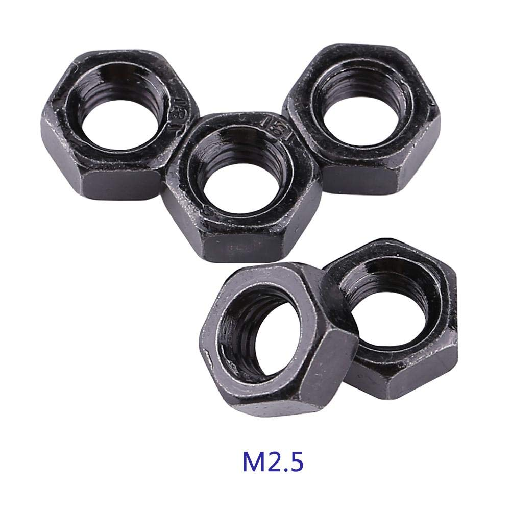 M2.5 M2-M5 Thread Nut Metric 100pcs Office Appliance Ship Assembly Communication Equipment for Home Hex Hexagonal Nuts Carbon Steel Nut
