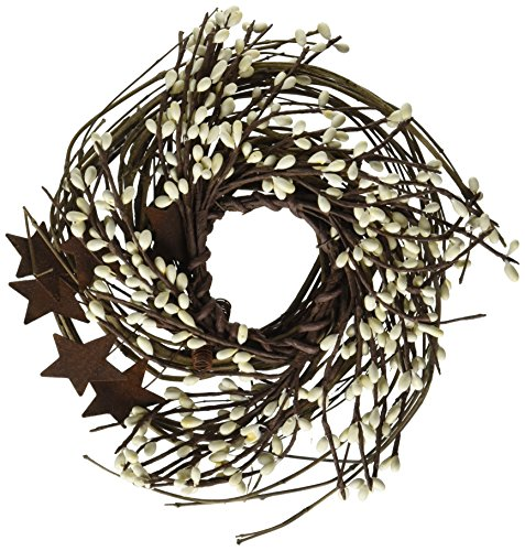 CWI Gifts Pip and Twig with Rusty Star Wreath, 7-Inch, Ivory (Door Swag)