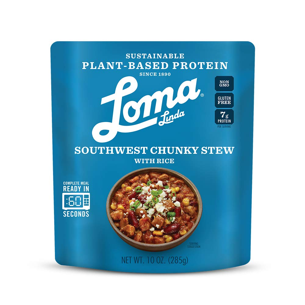 Loma Linda Blue - Plant-Based Complete Meal Solution - Heat & Eat Southwest Chunky Stew (10 oz) (Pack of 3) - Non-GMO, Gluten Free