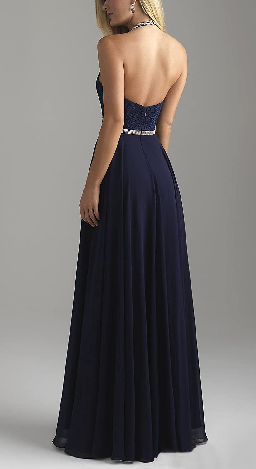 Zhongde 2018 Women Long Halter Prom Dress A Line Chiffon and Lace Bridesmaid Evening Gown Beaded Blet