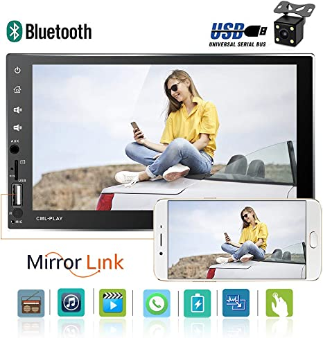 Rear View Camera Steering Wheel Remote Control Camecho 2 Din Car Stereo Bluetooth 7 inch Touch Screen MP5 Player with AUX//USB//SD//TF Card Port FM Radio Android Phone Mirror Link