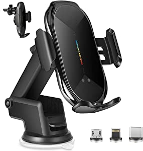 Wireless Car Charger Mount,10W Qi Fast Charging Auto-Clamping Car Phone Mount,Windshield Dashboard Air Vent Phone car Charger Holder Compatible iPhone Samsung and All Smartphone (Black)