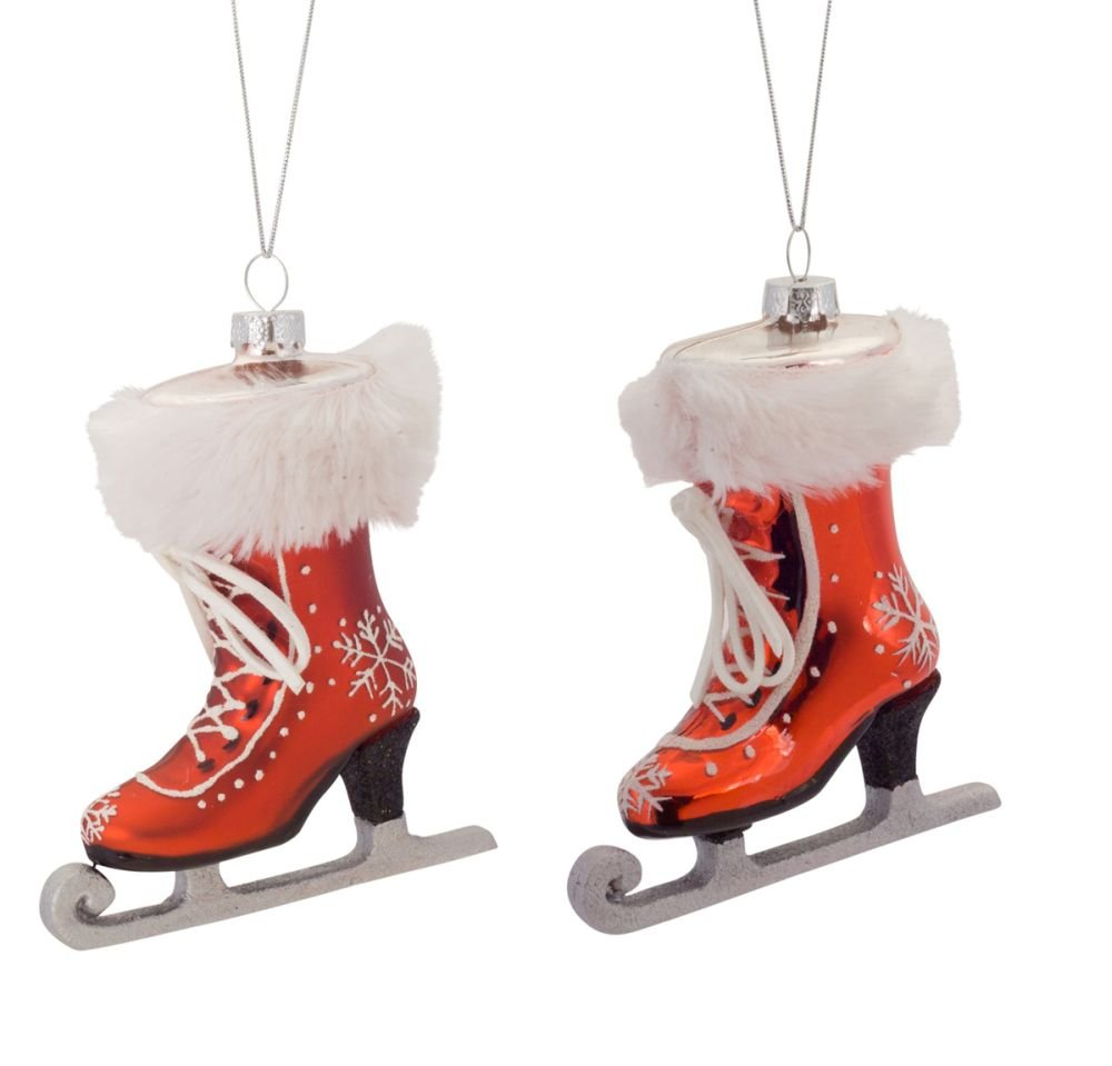 Amazon.com: Melrose Christmas Decor Ornament Ice Skates Glass 5.5 ...