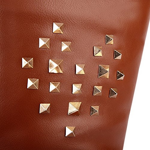 Soft Boots Heels Solid PU with AmoonyFashionWomens US Brown M B Round Material 5 Metalornament Kitten Closed Toe 6 wY1fqzfnU