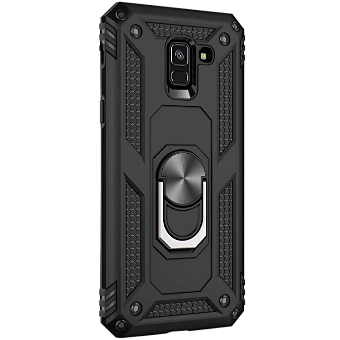 for Samsung Galaxy A8 2018 case Hard Shell Military Duty Protective Cover with Holder 360° Ring Cases for Magnetic Car Mount