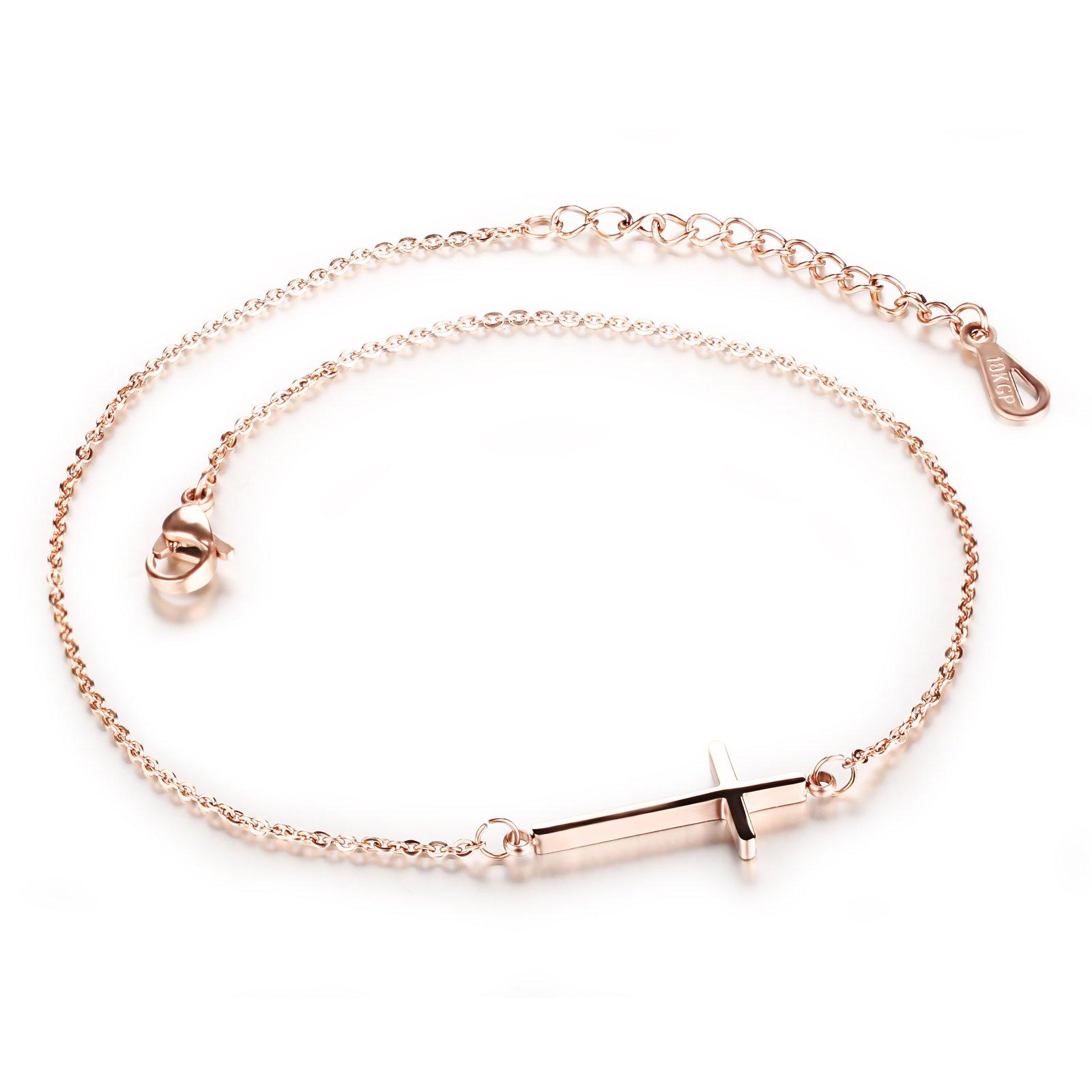 Fate Love Sideways Cross Anklet Bracelet Women, Rose Gold Stainless Steel Adjustable Size, 11''