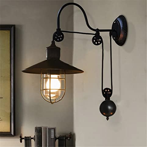BAYCHEER HL410694 Industrial Retro Farmhouse Style Lifting Pulley  Retractable Adjustable Glass Birdcage Wall Lamp Light Wall