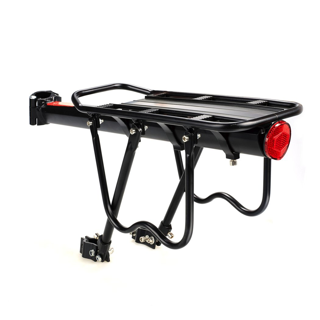 Grows Bike Rack Cargo, Mountain Bike Cargo Rack Fender, Adjustable Alloy Bike Cargo Carrier 110 lb Capacity with Easy Installation & Quick Release