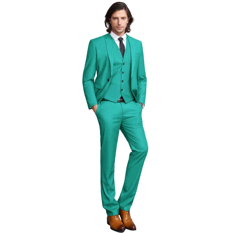3c346540f13d6c YIMANIE Men's Slim Fit 3-Piece Suit One Button Formal Business Wedding Party  Blazers Vest Flat Front Pants Set at Amazon Men's Clothing store: