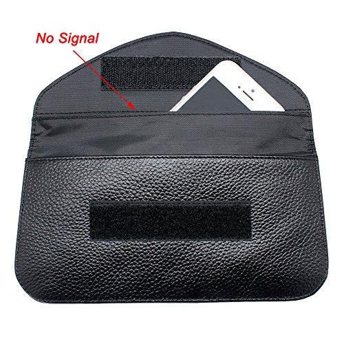 RFID Signal Blocking Bag, Boshiho Genuine Leather Cell Phone Privacy Protection Bag Anti-tracking Anti-spying GPS Rfid Signal Blocker Pouch Case Bag Handset Function (Engineer Pocket Seal)