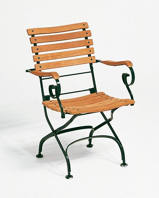 weishaeupl Classic Sillón Curved – Color Verde Oscuro weishaeupl, teca maciza, acero, diseño – Silla de jardín – Sol silla – Terraza silla: Amazon.es: Jardín