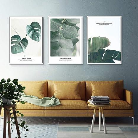 Ungerahmt Leinwand Malerei Wandkunst Bild Poster kreative gr/üne Pflanze nordische Wandkunst drucken Wanddekor Malerei Poster schwarz und wei/ß 50X70Cmx3