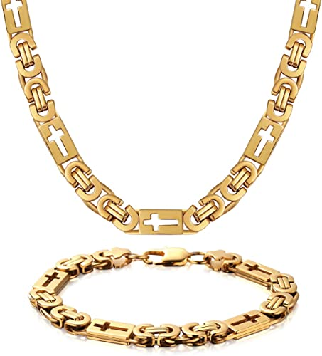 "36/""MEN Stainless Steel 6mm Gold Byzantine Box Link Chain Necklace Bracelet SET*T"