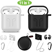cuauco AirPods Case Protective Silicone Cover with 2 Anti-Lost Airpods Strap/2 Pairs of Ear Hooks/2 Carabiner/2 Watch Band Holder/1 Headphone Case for Apple Airpods Accessories (11 Pack)(Black+White)