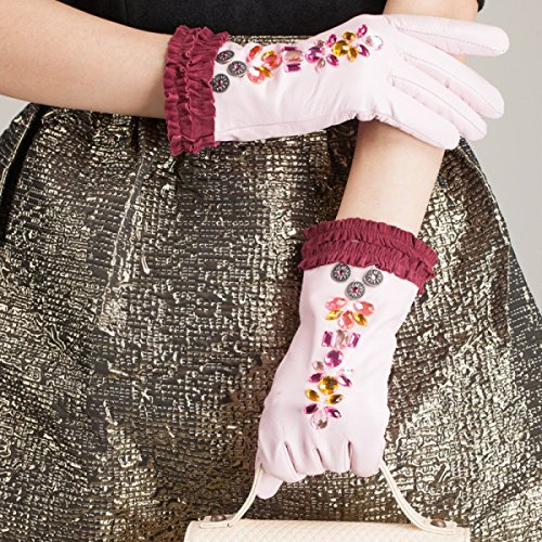HOMEE Women'S Leather Gloves Sleeves Fleece Lined Short Inlaid Artificial Diamonds Black Blue Pink,Pink,Small by HOMEE (Image #5)