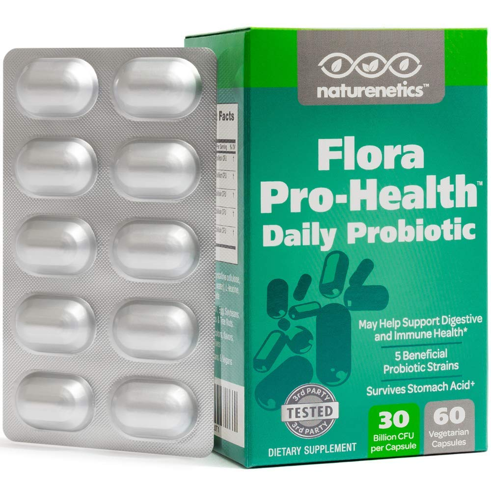 Probiotics for Women and Men on The Go - Flora Pro-Health, High Strength Probiotic Supplement - 30 Billion CFU Per Capsule - Sugar, Soy, Dairy, Gluten Free - Vegan - with Acidophilus - 60-Day Supply