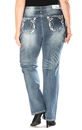 dc7e2dd7bf0 Grace in LA Plus Size Embellished Straight Stretch Jean 17 19 21 (39 41 43