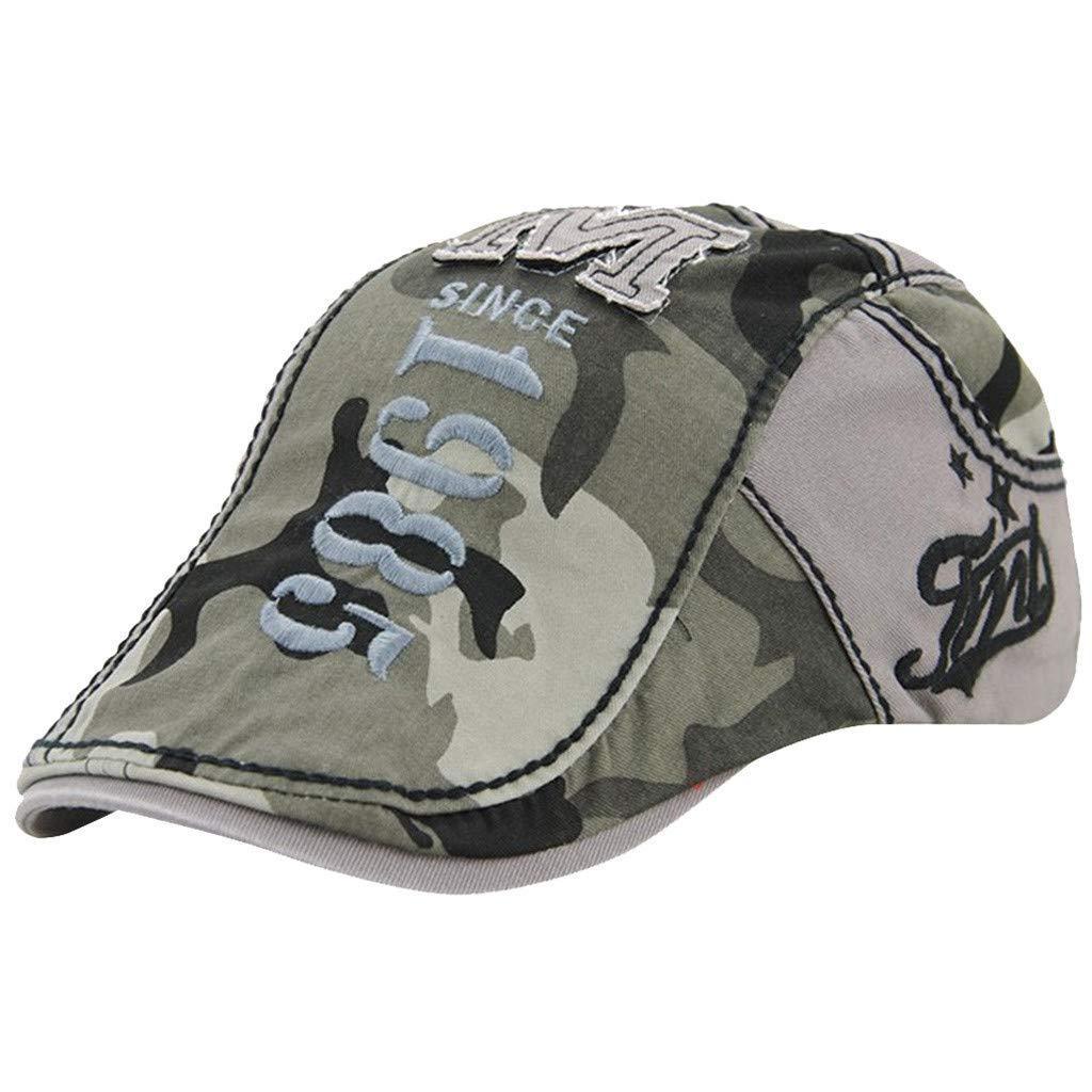 Unisex Summer Camouflage Beret Embroidered Flower Denim Flat Cap Retro Washed Visor Hat Newsboy Cabbie Cap (Gray)