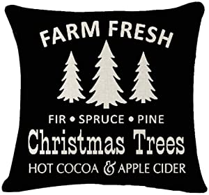 "Farm Fresh Christmas Trees Pine Fir Spruce Hot Cocoa Apple Cider Cotton Linen Decorative Throw Pillow Case Cushion Cover Lion Piillow case 18"" X18 Throw Pillow Cover (2)"