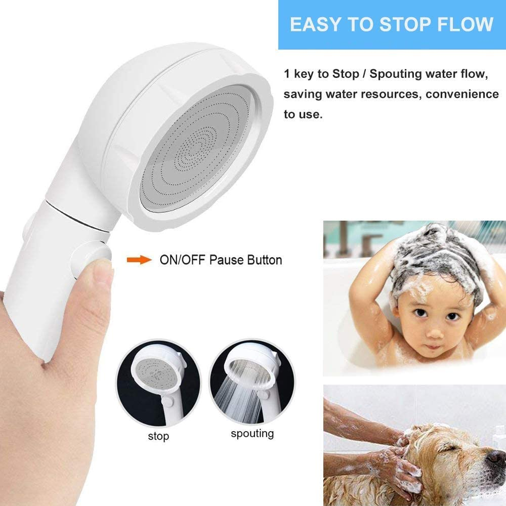 Silver Handheld Shower Head High Pressure 3-Spray Setting Showerhead Detachable Chrome Hand Shower with ON//Off Pause Switch Water Saving Mode for Bathroom Puppy Shower Accessories