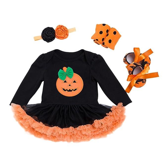 Zhhlinyuan Infantil Bebé Chicas Manga Larga Calabaza de Halloween ...