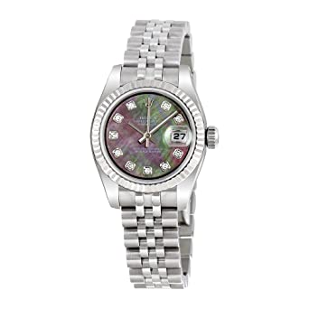 b109d337b305 Image Unavailable. Image not available for. Color  Rolex Lady Datejust 26  Black Mother of Pearl Dial Stainless Steel Rolex Jubilee ...