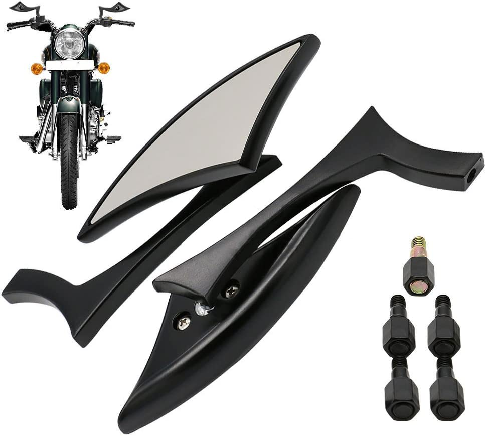 Frenshion 7//8 22cm R/étroviseurs Lat/éraux Miroir Rond Arri/ère Moto Universelle Noir