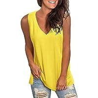 Camiseta sin Mangas para Mujer Moda Color Sólido Camisetas de Tirantes Sexy Cuello en V Sleeveless Shirt Suelto Informal…