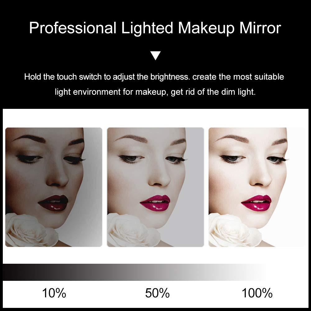 Espejo de Maquillaje Iluminado con 3 Colores para Mesa de Dormitorio Espejo LED Profesional Grande para Teatro con 12 Luces Regulables Chende Espejo de Maquillaje Hollywood con Luces para Pared