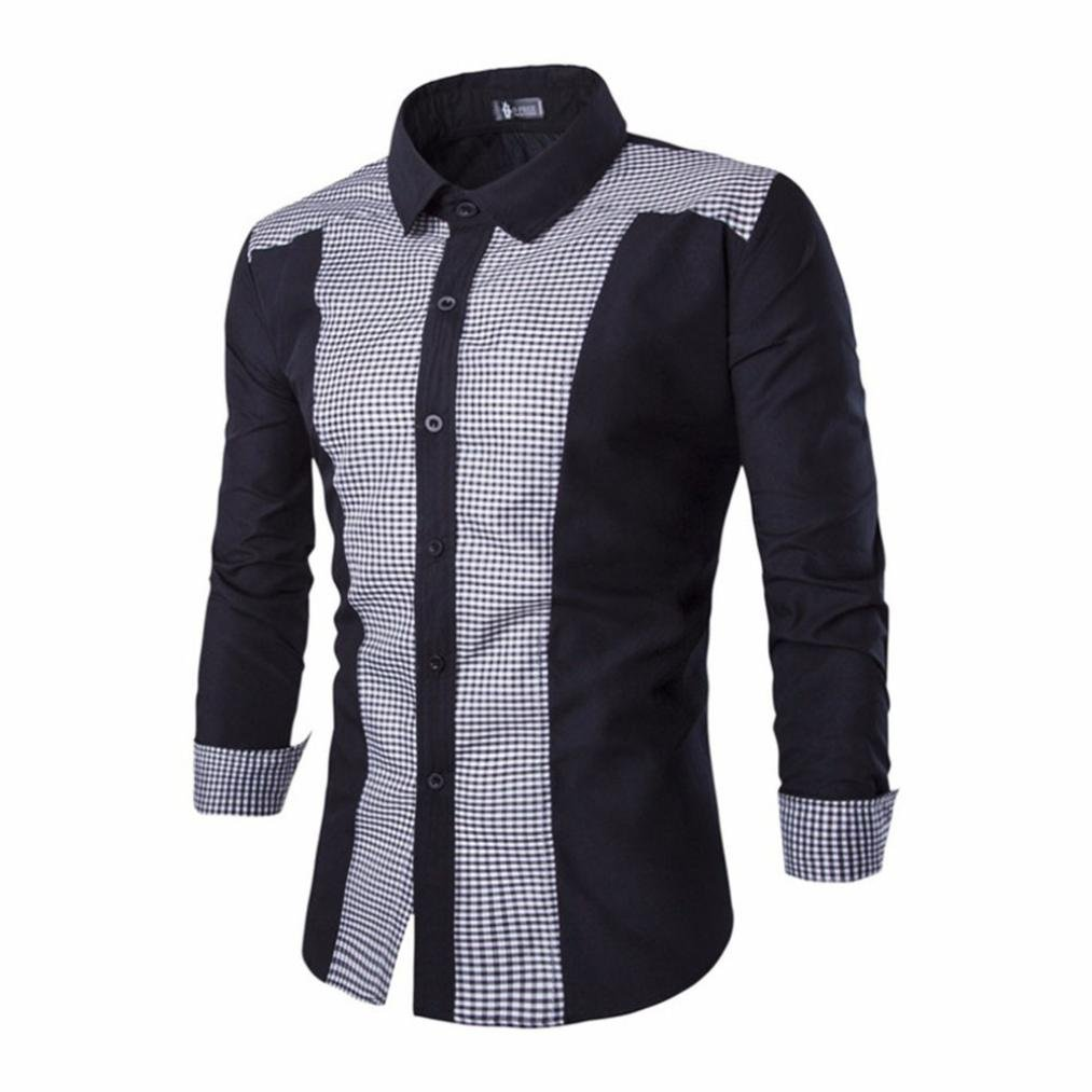Longay Men Plus Size Lattice Color Block Buttons Shirt Long Sleeve Stand Collar Formal Blouse Top