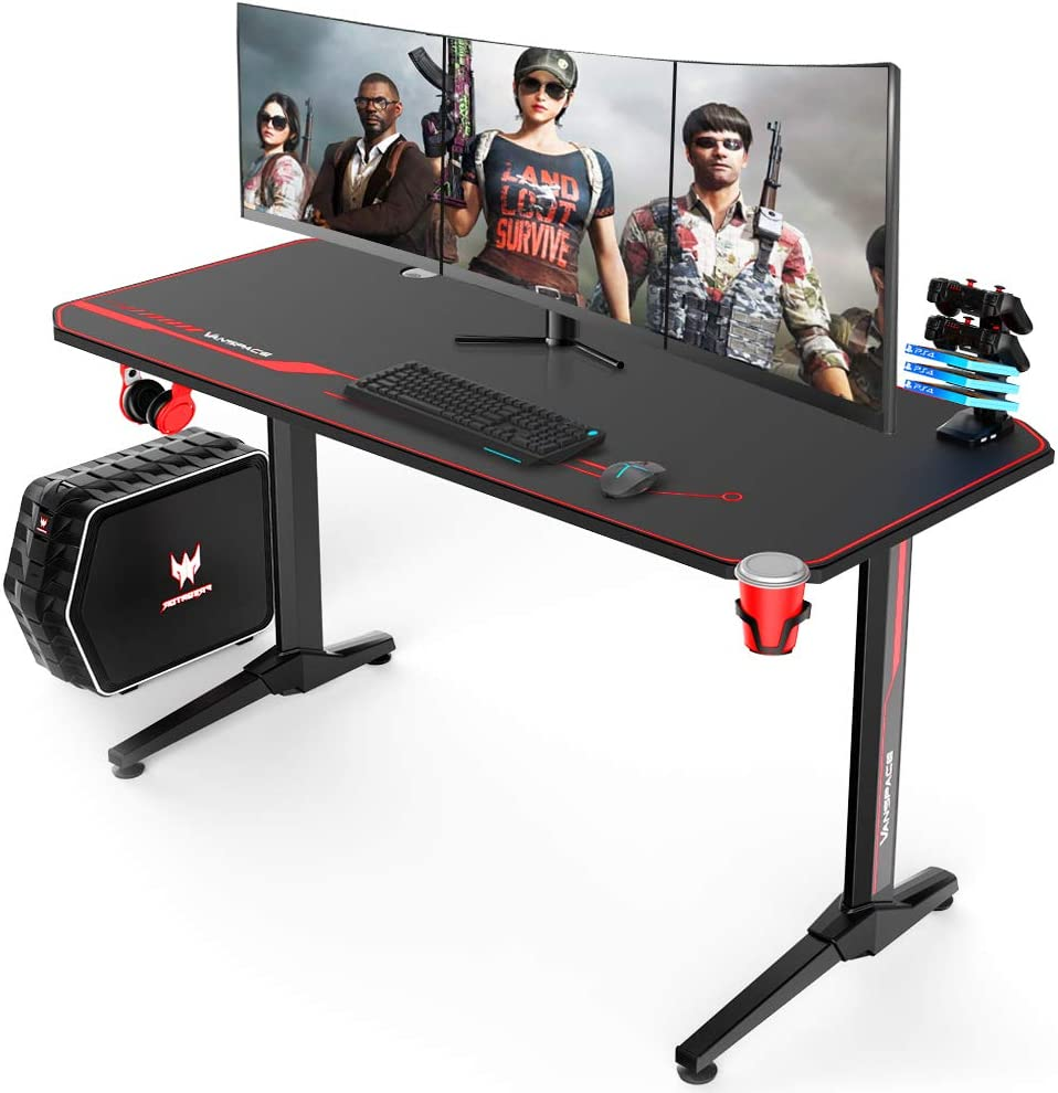 VANSPACE 55 Inch Ergonomic Gaming Desk, T-Shaped Office Desk PC Computer Desk with Full Desk Mouse Pad, Gamer Tables Pro Workstation with USB Gaming Handle Rack, Stand Cup Holder&Headphone Hook