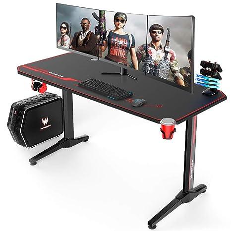 Amazon.com: VANSPACE 55 Inch Ergonomic Gaming Desk, T-Shaped ...