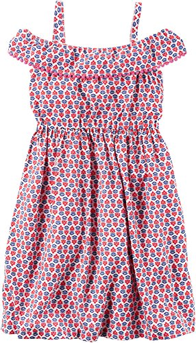 8 Girls' Dress 2T Printed Maxi Red Poplin Carter's RHTUxqCwx