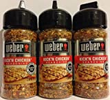 Weber Seasoning - Kick'N Chicken - Net Wt. 2.5 OZ (71 g) Per Bottle - Pack of 3