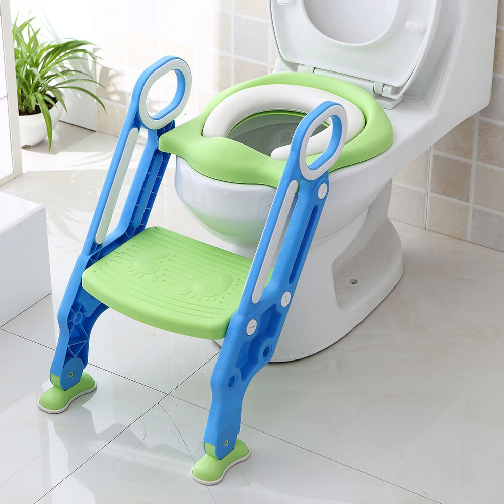 Potty Training Seat for Boys and Girls with Sturdy Non-Slip Step Stool Ladder Portable Toddler Potty Seat Perfect for Potty Training by Pazaka