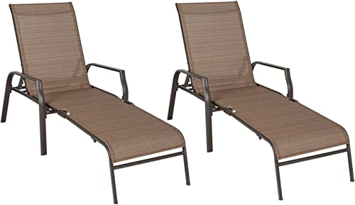 Ulax Furniture Outdoor Patio Chaise Lounge Folding Chairs Set of Two