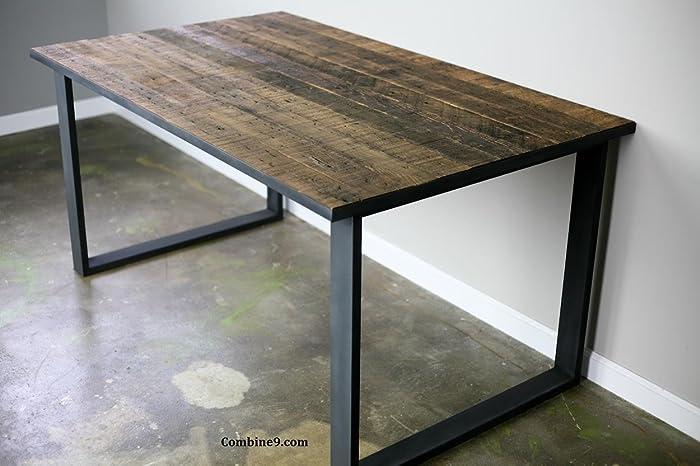 Superbe Vintage Industrial Table, Reclaimed Wood Desk, Steel Dining Furniture