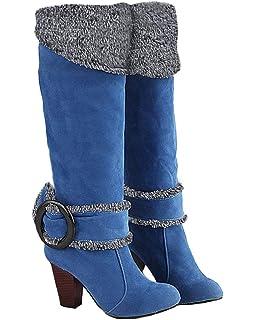 Minetom Mujer Otoño Invierno Rodilla Boots Tacón Alto Hebilla Botas Chunky Heel Biker Botas