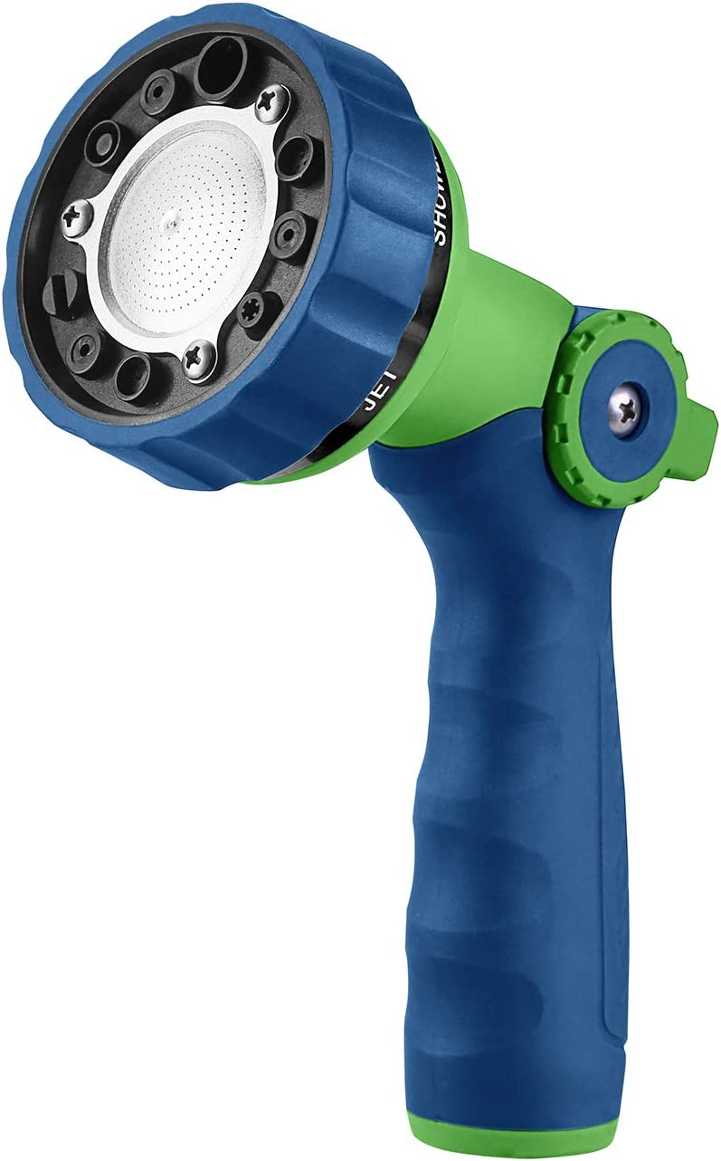 GREEN MOUNT Garden Hose Nozzle, Water Hose Spray Nozzle with Thumb Control On Off Valve for Easy Water Flow Control,Blue-Green