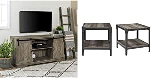 Walker Edison Furniture Company Modern Farmhouse Sliding Barndoor Wood Stand, 28 Inches Tall, Grey Wash & Rustic Farmhouse Square Wood Side End Accent Table Living Room 2 Tier Storage Shelf, Set of 2
