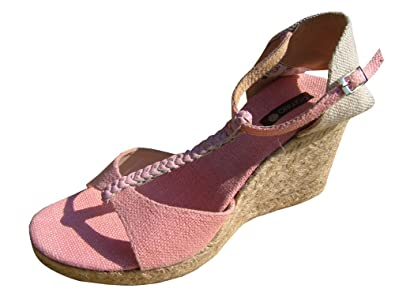 8339e0a3d46 Pomelo Womens Wedge In Soft Light Pink Linen + Leather  Amazon.co.uk ...
