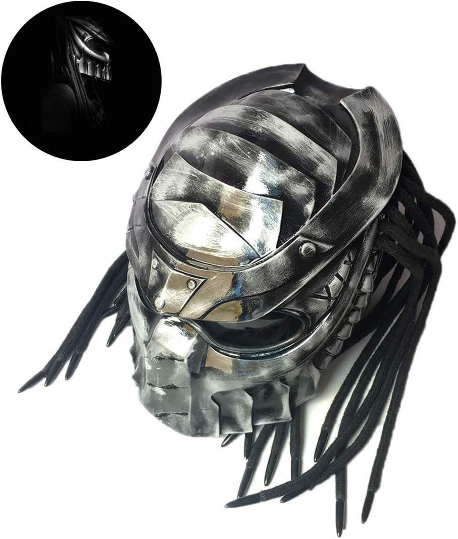 Black Iron Warrior Helmet Motorcycle Full Face Helmet With Creative Lens Anti-Mist Hair Braid LED Light D.O.T Certificates,M Predator Helmet